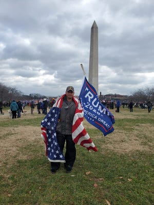 The FBI, in its complaint against Michael Joseph Foy, referenced this photo from a Jan. 6, 2021 rally outside the Washington Monument that preceded the storming of the U.S. Capitol. The photo was posted on Foy's father's Facebook page.