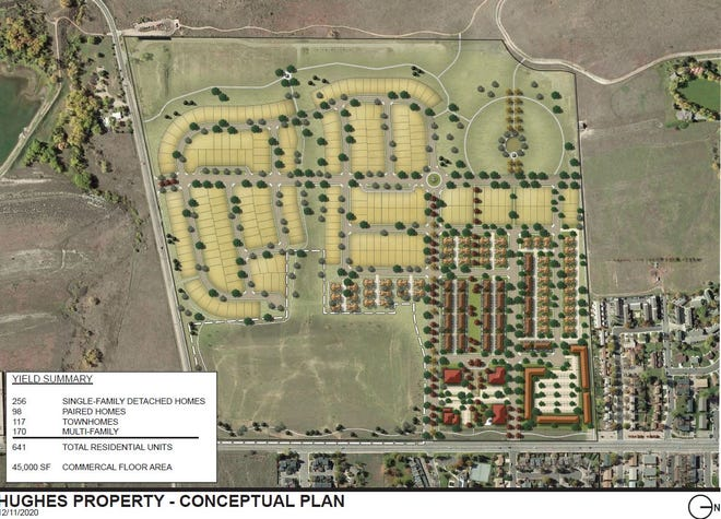 A preliminary site plan for Colorado State University's former Hughes Stadium land in west Fort Collins. The plan includes single-family homes, duplexes, townhomes, apartments, day-care center, urgent care, transit center and 70 acres of open space.