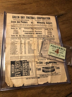 A ticket stub and program from a 1924 Green Bay Packers game will be up for auction next month and is expected to sell for more than $10,000.