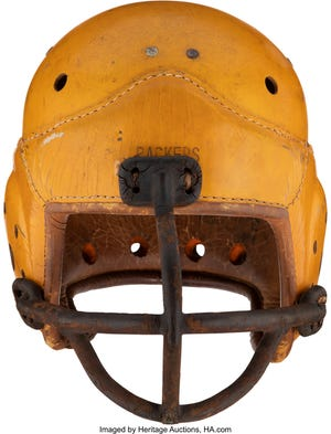 A Green Bay Packers leather helmet from the 1940s was auctioned for $33,600 last weekend.