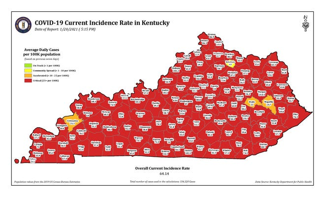 The COVID-19 current incidence rate map for Kentucky as of Wednesday, Jan. 20.