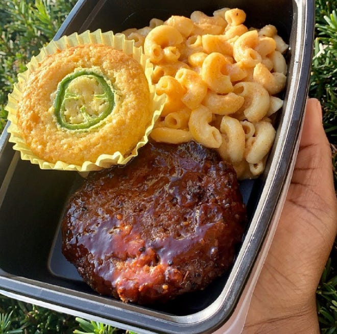 "BBQ chopped ""steak,"" mac 'n' cheese, jalapeño cornbread — 100% tasty, 100% plant-based. Oct. 11, 2020."