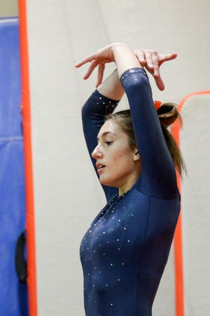 Harrison's Mia Clark performs her floor routine during an IHSAA gymnastics meet, Wednesday, Jan. 20, 2021 in Lafayette.