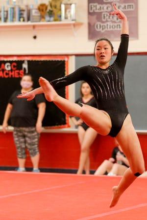 Lafayette Jeff's Kat Nagler performs her floor routine during an IHSAA gymnastics meet, Wednesday, Jan. 20, 2021 in Lafayette.