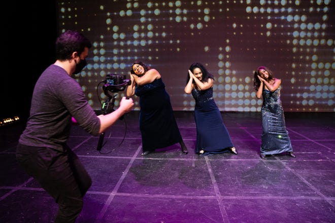 """Ryan Shreve records Condrea Webber, Leiah Lewis and Nykera Gardner for the Renaissance Theatre production of """"Dreamgirls."""""""