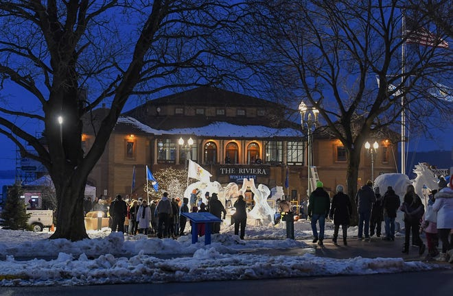 Snow sculptures are on display in front of The Riviera during Lake Geneva's Winterfest in 2020.