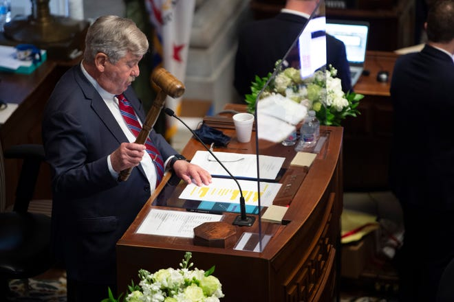Lt. Governor Randy McNally bangs the gavel at the start of a special session of the Senate at the State Capitol Thursday, Jan. 21, 2021 in Nashville, Tenn.