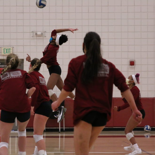 The New Mexico State volleyball team held a practice at the Pan American Center on Thursday for the first time since November.