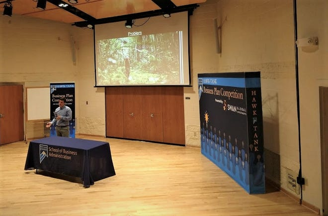 Fort Lewis College alum Anthony Martin pitches his business plan for an international and cultural mountain bike tour operation to the Hawk Tank committee at the college in 2019.