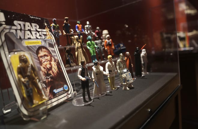 "Action figures from ""Star Wars: Episode IV - A New Hope"" are on display Thursday as part of the ""The Nostalgia Awakens"" exhibit at the Oshkosh Public Museum. The exhibit opens Sunday and runs through June 20."