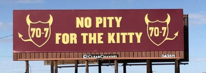 This billboard reminding fans of the Territorial Cup score appears on Interstate 10.