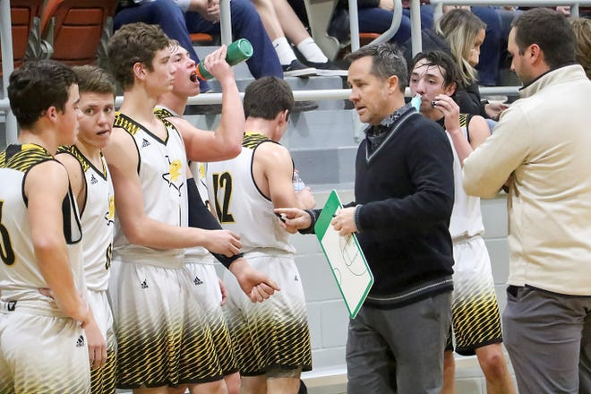 Goldthwaite boys basketball coach Jeffrey Head talks to his team during a game against Johnson City on Jan. 8, 2021.