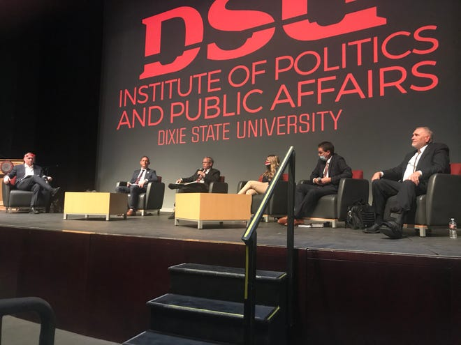 """From left:Institute of Politics and Public Affairs DirectorVince Brown;Jordon Sharp, DSU'svice president of marketing and communication; Tim Anderson, a local attorney; Penny Mills, DSU student body president; Troy Blanchard, a local attorney; and William Christensen, DSU professor of business management and Faculty Senate president from 2020-21. DSU's Institute of Politics hosted a panel discussion Thursday on the university's decision to drop the name """"Dixie."""""""