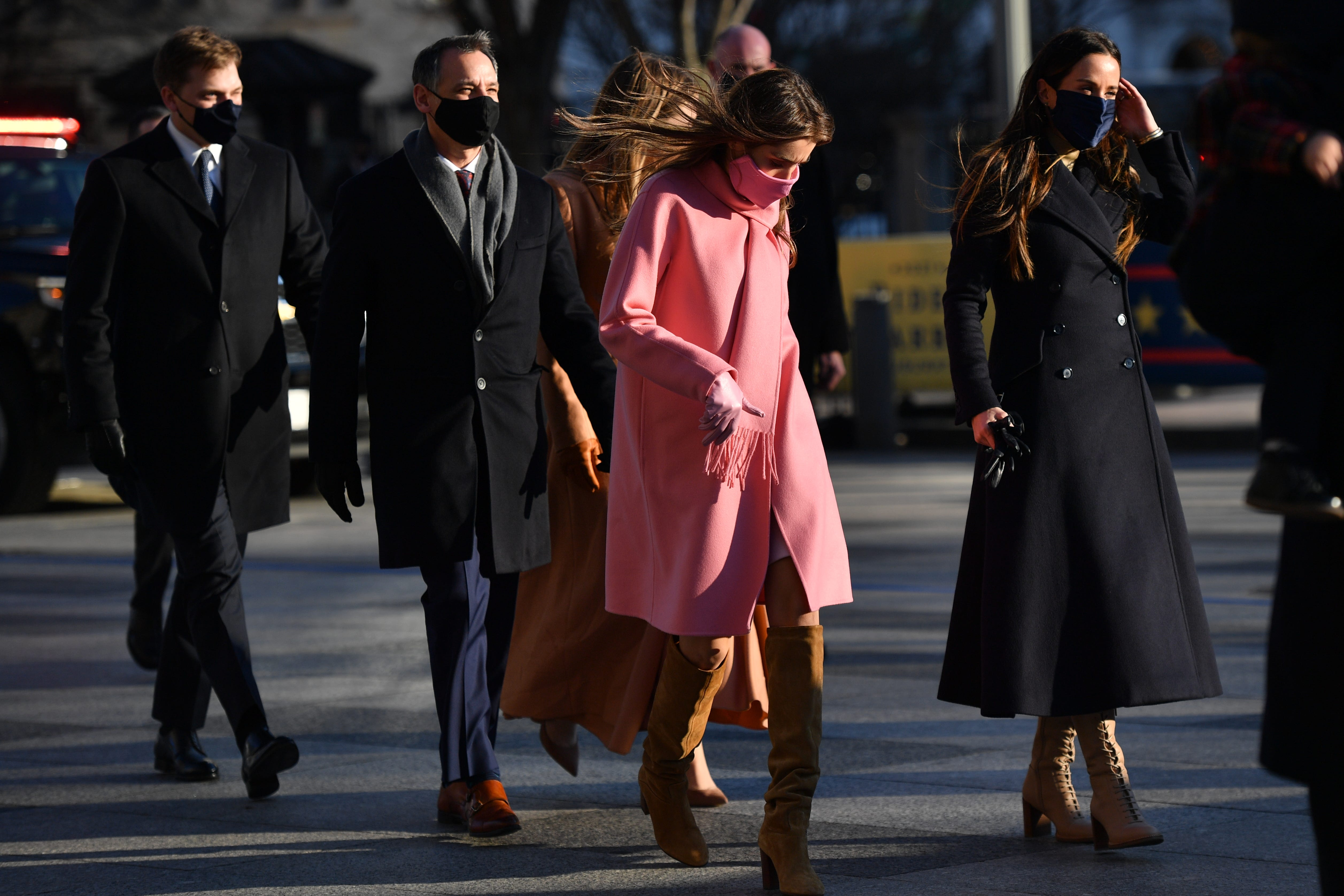 Natalie Biden, a granddaughter of U.S. President Joe Biden, gathers with family before walking along the abbreviated parade route after Biden's inauguration on January 20, 2021 in Washington, DC.