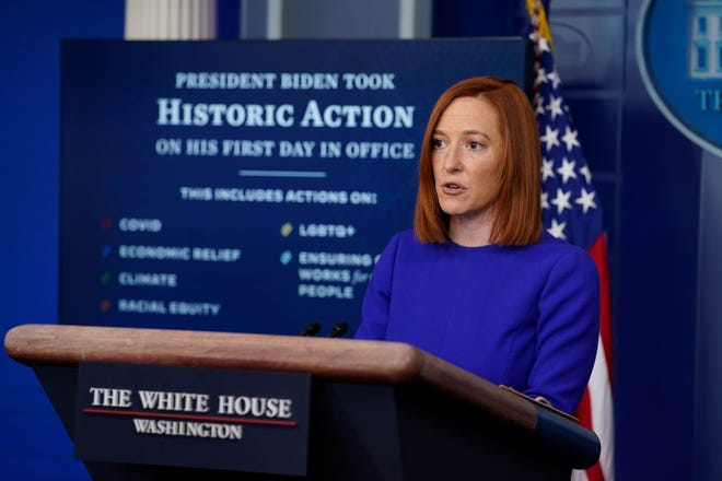 White House press secretary Jen Psaki speaks during her first press briefing at the White House on Jan. 20, 2021, in Washington.