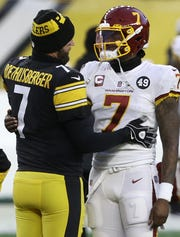 Steelers QB Ben Roethlisberger, left, and Dwayne Haskins are now teammates.
