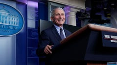Dr. Anthony Fauci, director of the National Institute of Allergy and Infectious Diseases, laughs while speaking in the James Brady Press Briefing Room at the White House, Thursday, Jan. 21, 2021, in Washington.