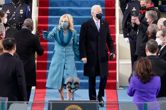 President-elect Joe Biden and his first lady-to-be Jill Biden arrive for the 59th Presidential Inauguration at the U.S. Capitol in Washington, Jan. 20, 2021.