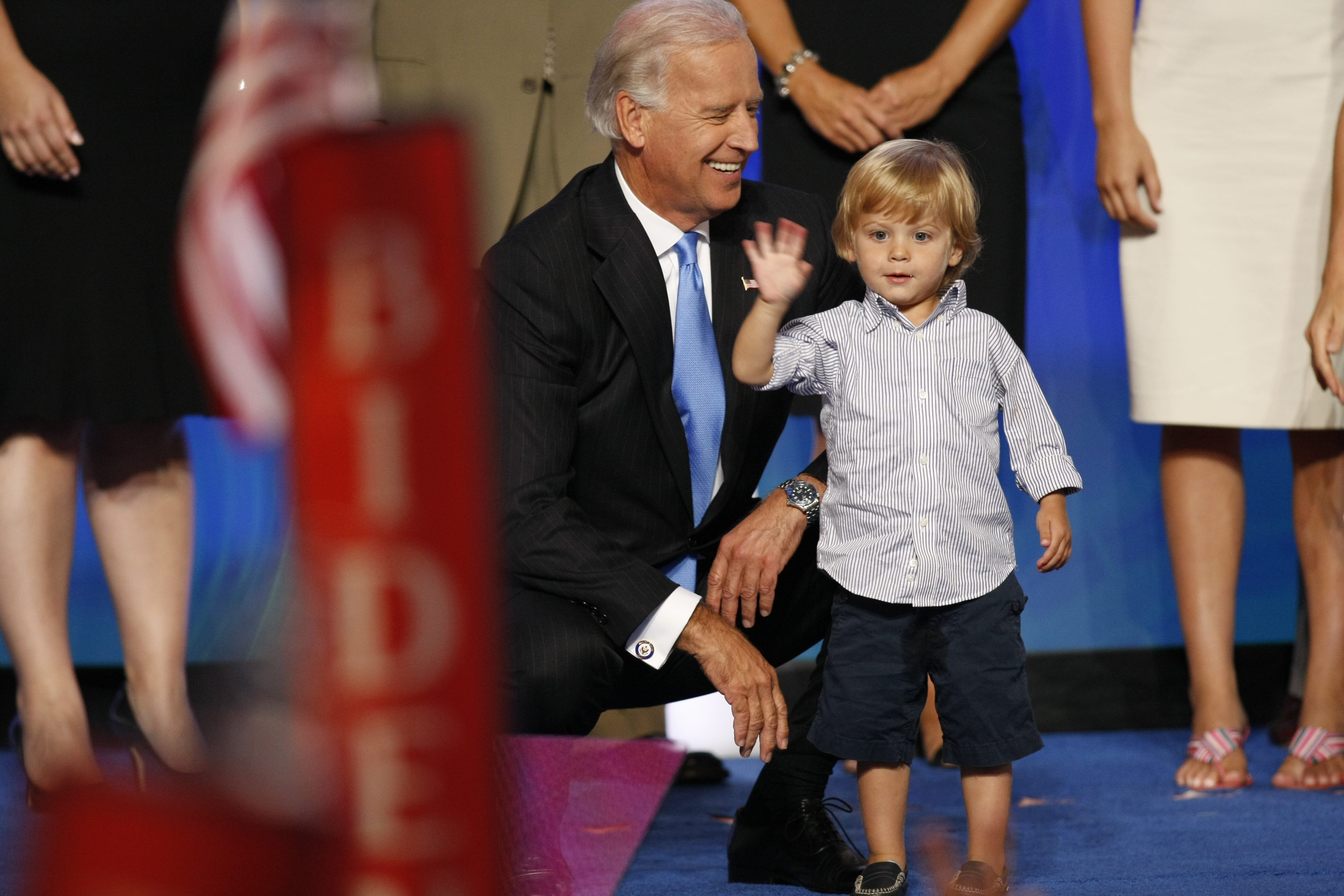 Then-Vice-Presidential nominee Joe Biden with his grandson Hunter and other family members after Biden's speech at the 2008 Democratic National Convention in Denver.