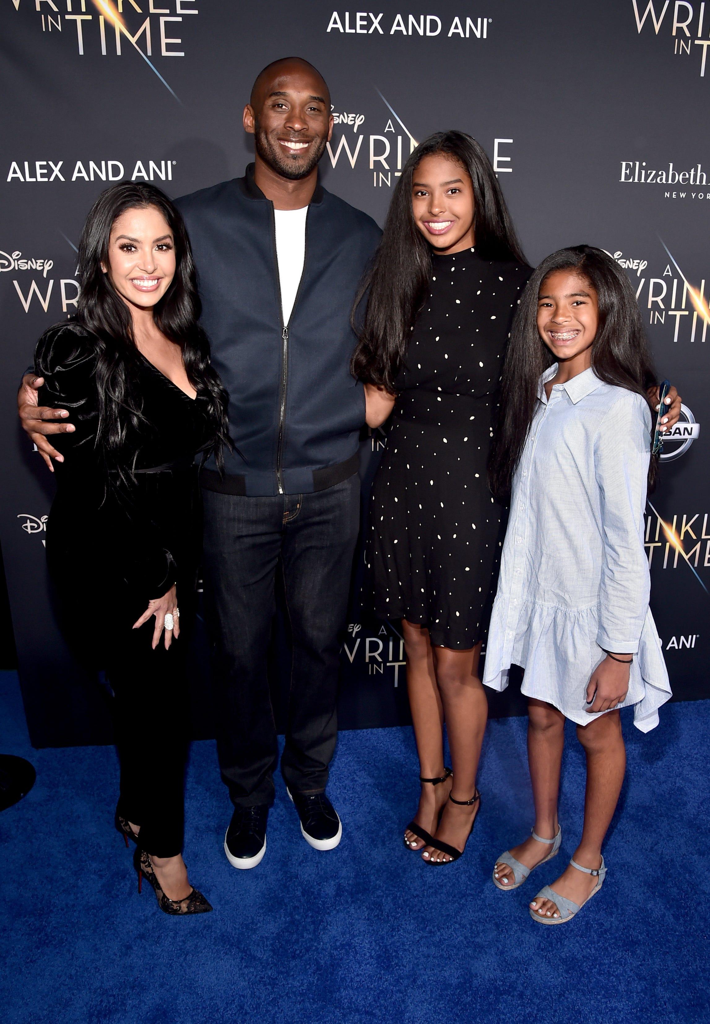 The Bryant family, from left, Vanessa, Kobe, Natalia and Gianna, shown in 2018.