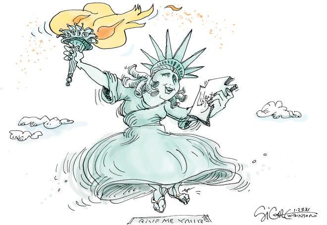 Signe cartoonDancing Liberty