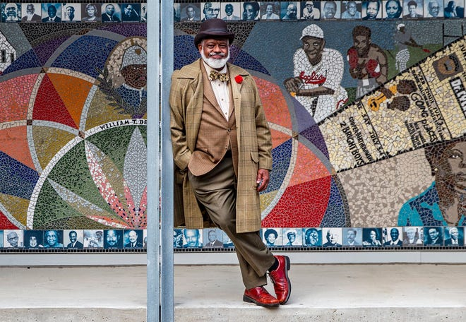 Harrison Eppright at the African American Cultural & Heritage Facility. The dapper Eppright gives history tours of Austin for Visit Austin and is especially informed on the city's African American past.