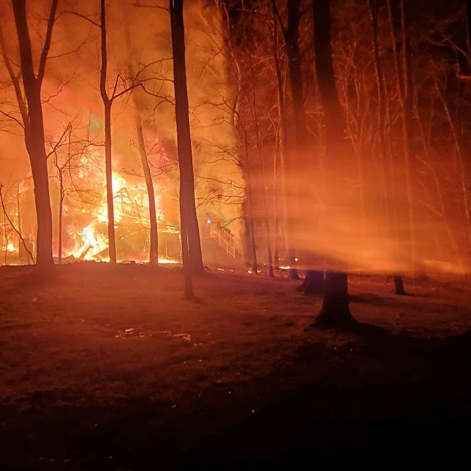 A fire destroyed a home in the first block of Middle Road in Solebury Friday morning.
