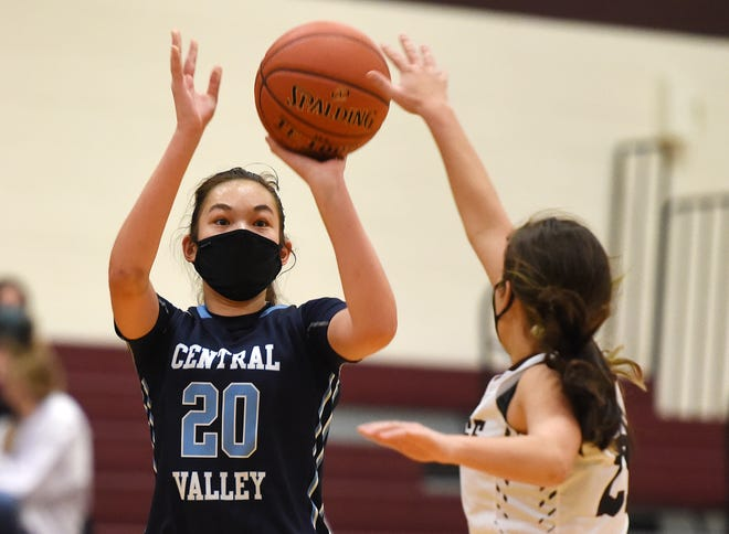 Central Valley's Alyssa Gillin shoots during a game against Ambridge earlier this year. Gillin has emerged as Central Valley's top scorer after serving in a complementary role last year.