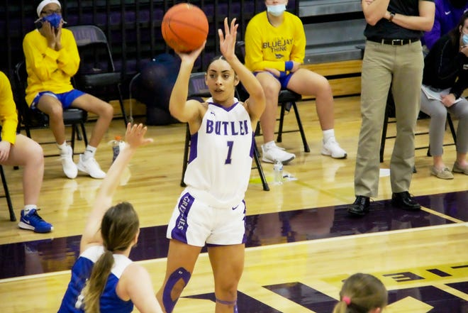 Butler's Skyla Knight (1) goes up for a jumper in the first half against Tabor College Junior Varsity on Thursday, Jan. 21, 2020. The Grizzlies beat Tabor JV at the Power Plant in El Dorado, Kansas.