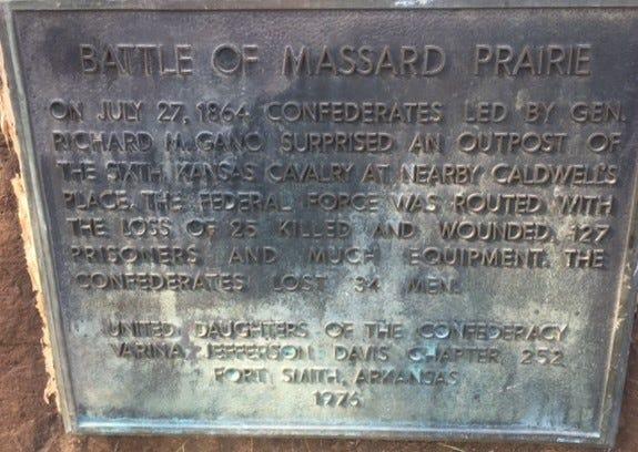 A historical marker at Massard Prairie Battlefield Park.