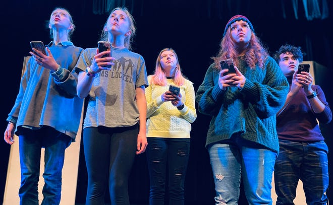 "Cast members in the Abbey Theater of Dublin production of ""Future, Here"" are, from left, Gigi Steiger, Kendall Medsker, Kamilia Khafizov, Sydney Campbell and Monty Almoro."