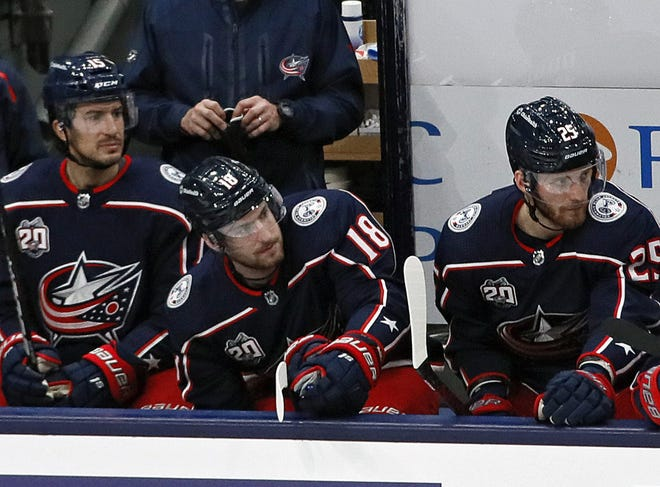 Center Pierre-Luc Dubois (18) was a mere spectator for the final 44-plus minutes of regulation and all of overtime in the Blue Jackets' loss to Tampa Bay on Thursday.