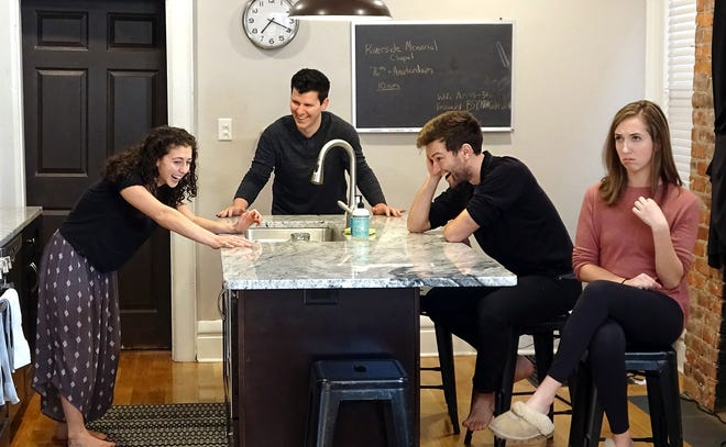 "From left, Annie Winneg as Daphna, Nick Cosgrove as Jonah, Jake Loewenthal as Liam and Ali Foley as Melody in the Short North Stage streaming play ""Bad Jews."""