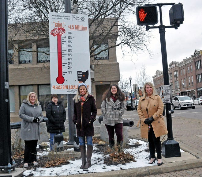 Members of the United Way of Wayne and Holmes Counties committee with the goal thermometer on the square after this year's goal was met. From left, they are Katie Koglman, Lisa Nyhart, Shelbie Bardall, Geren Cunningham and Carrolyn Salazar.