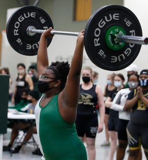 Annie Buchanan competes during the Girls District 4-3A weightlifting championships at Flagler Palm Coast High School, Thursday, Jan. 21, 2021.