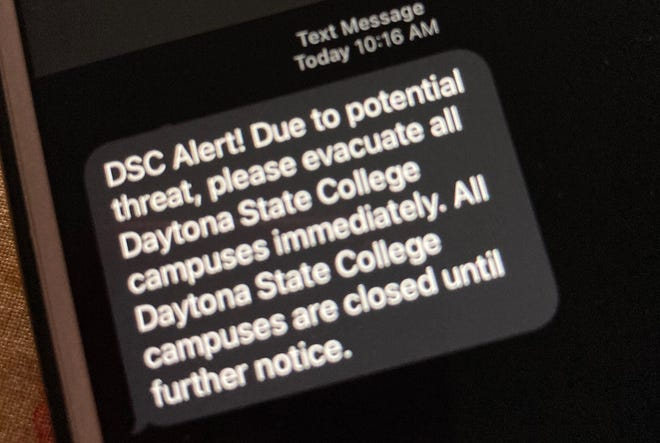 This text message went to students and employees of Daytona State College on Friday morning, Jan. 22, 2021.