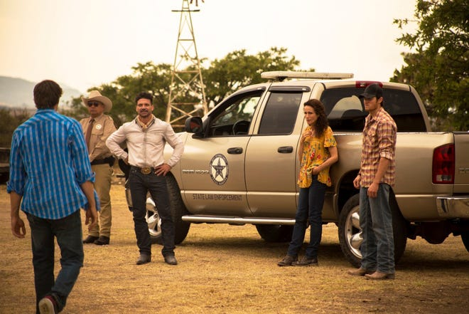 """This image released by IFC Films shows, from second left, George Lopez, Frank Grillo, Andie McDowell and Jake Allyn in a scene from """"No Man's Land."""""""