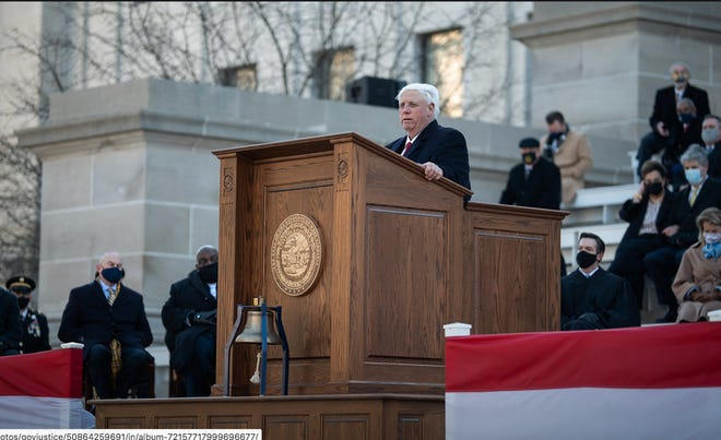 Gov. Jim Justice addresses the crowd following his inauguration for a second term as West Virginia's governor.
