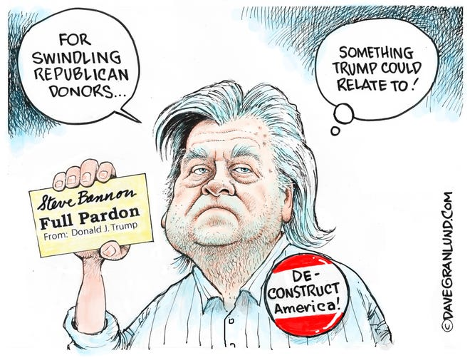 Dave Granlund cartoon on pardon of Steve Bannon