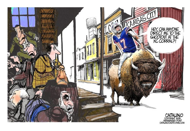 Local Cartoonist Ken Catalino is ready for the Buffalo Bills and Kansas City Chiefs AFC title matchup.