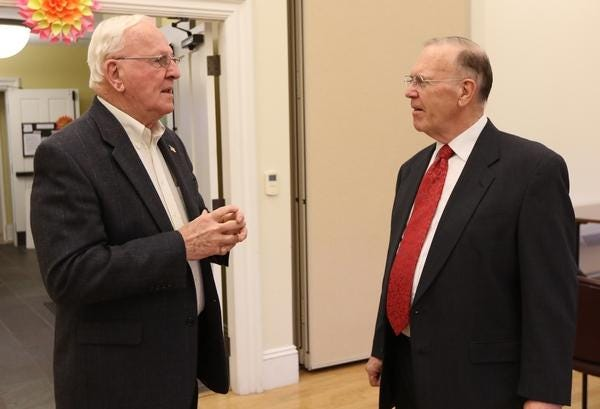 Former Hudson Selectman George McGee, left, died Wednesday after a bout with COVID-19.
