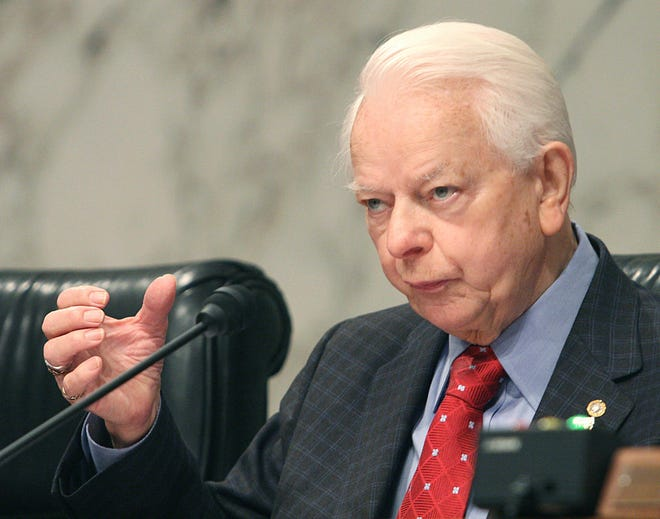 In this file photo, US Sen. Robert Byrd, D-WV, questions US Secretary of Defense Robert Gates and Chairman of the Joint Chiefs of Staff Gen. Peter Pace during Senate Appropriations defense subcommittee hearings 09 May, 2007 on Capitol Hill in Washington, DC. Legislative experts are scrutinizing budget law to see how much of Joe Biden's $1.9 trillion COVID-19 rescue package could be passed through the procedure known as reconciliation. The Byrd rule, which was named for former Sen. Robert C. Byrd, D-W.Va., sets stringent limits on what reconciliation can be used for. (Karen Bleier/AFP via Getty Images/TNS)