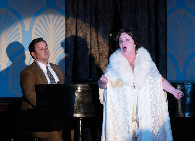 "Cory Woomert, left, and Ellie Pattison star in the Players Centre's production of ""Souvenir: A Fantasia on the Life of Florence Foster Jenkins"" outdoors at the Bazaar at Apricot & Lime."