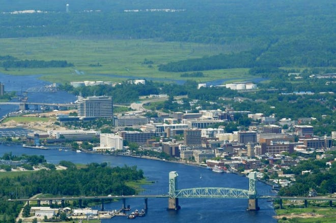 Aerial photo of Cape Fear Memorial Bridge and Downtown Wilmington, N.C. June 23, 2015. Photo By Ken Blevins/ StarNews Media