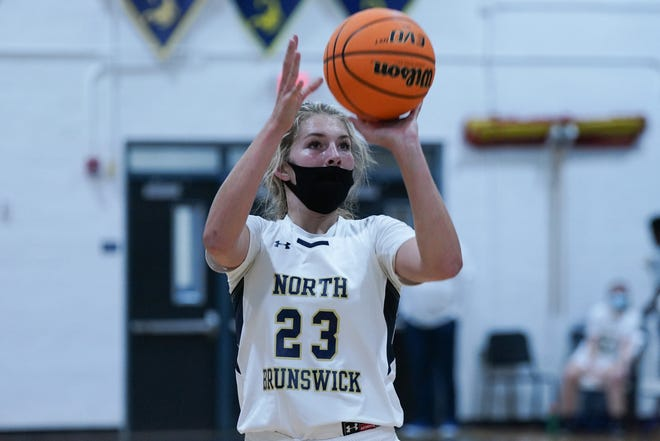 Laney Scoggins shoots a free throw as North Brunswick hosts Hoggard.  January 21, 2021.  [KEN OOTS/FOR STARNEWS]