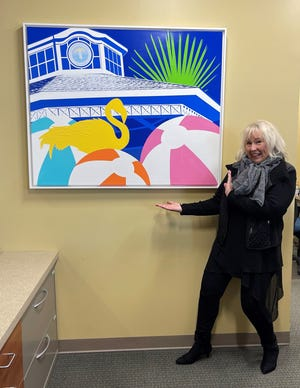 """Nina Mickelsen donated her painting """"Rehoboth Calling!"""" to the City of Rehoboth Beach."""