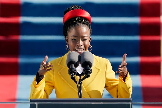 Amanda Gorman reads a poem during the 59th Presidential Inauguration at the U.S. Capitol in Washington Jan. 20.