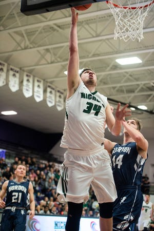 Nichols' Matt Morrow takes a shot during the CCC championship game against Gordon at Holy Cross in 2019.