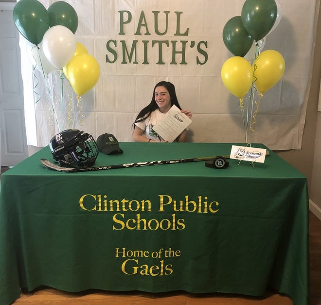 Clinton High student athlete Alanna Hoag signed her letter of intent to play collegiate girls ice hockey for The Paul Smith College Bobcats. Alanna has captained the Leominster Blue Devils co-op girls ice hockey team the past two seasons.