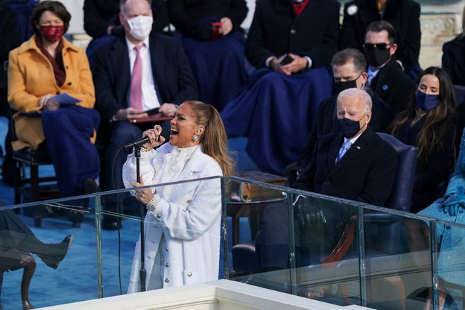 Jennifer Lopez sings 'This Land Is Your Land' during President Joe Biden's inauguration Wednesday at the U.S. Capitol in Washington.